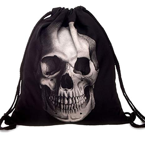 PREMYO Bolsa de Cuerdas Saco de Gimnasio Deporte Mochila Mujer Hombre con Impresión Cráneo Motivo Gracioso Práctico Cómodo Cordón Robusto