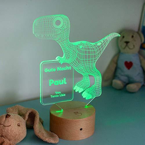 LAUBLUST 3D Dinosaurier Lampe - Personalisiertes LED Nachtlicht | Dino-Geschenk für Kinder & Geschwister | Holz-Sockel