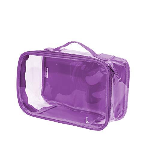 Clear Toiletry Makeup Bag, Cosmetic Organizer, Travel Case, PVC Plastic w/Handle (Purple)