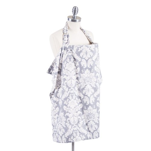 Bebe au Lait Premium Cotton Nursing Cover with Adjustable Strap, Boned Nursing Apron Cover Up, Breathable & Lightweight, Stylish & Discreet for Breastfeeding - Chateau Silver