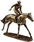 AIOJY Galopante Caballo De Carreras Jinete De Bronce De Resina Fría Escultura Estatua De La Figura Crafts Carreras De Caballos, Europea Y Americana Estatua del Caballo,Metálico