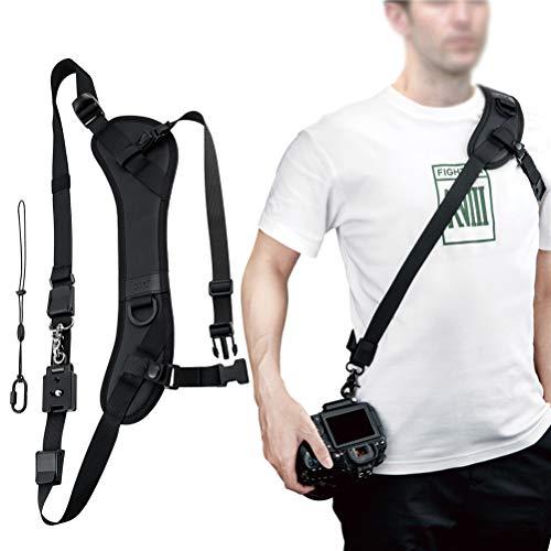 JJC NS-PRO1M Adjustable Quick Release Sling Strap, Cross Body Strap, Camera Strap, Rapid Shoulder Neck Sling Strap Belt, Breathable & Comfortable Shoulder Pad, Arca Swiss Type QR Plate Strap Eyelet