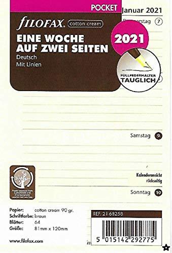 Filofax 2021 Kalender Pocket A7 Kalendarium 1Woche 2Seiten Cotton Cream Einlage Wochenplaner 21-68258