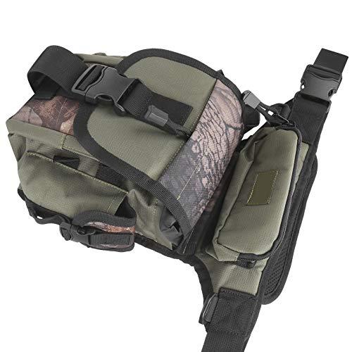 Bolsa de pierna Bolsas de aparejos de pesca al aire libre El uso multifuncional se puede utilizar como bolso de hombro, riñonera, bolso de(Army green camouflage)