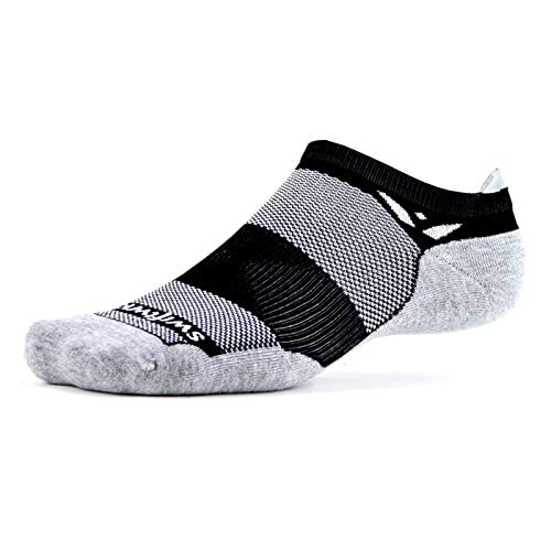 Swiftwick – MAXUS ZERO Tab Golf & Running Socks, Maximum Cushion, Mens & Womens (Black, Large)