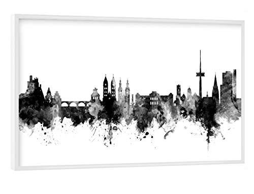 artboxONE Poster mit weißem Rahmen 90x60 cm Städte Koblenz Germany Skyline BW - Bild Koblenz Koblenz Skyline Skyline