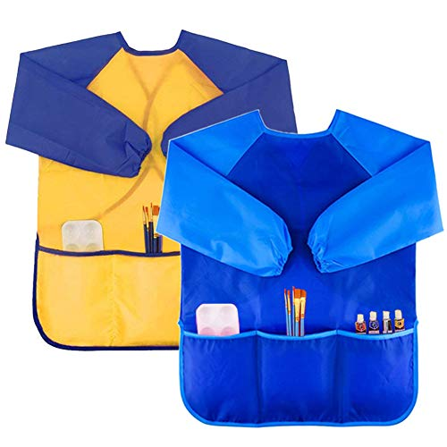 2 Pack Kids Art Smock Colorful Waterproof Children Art Aprons Artist Painting Aprons with Long Sleeve 3 Roomy Pockets for Age 3-8 Years,Yellow and Blue