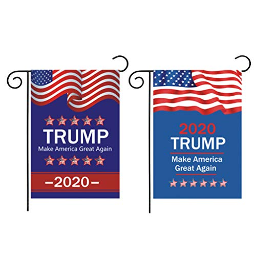 Amosfun 2 stks Trump Tuin Vlaggen maken Amerika Rasp Opnieuw Vlaggen 2020 Trump Ondersteuning Vlaggen Amerika Huidige Verkiezing Gunsten