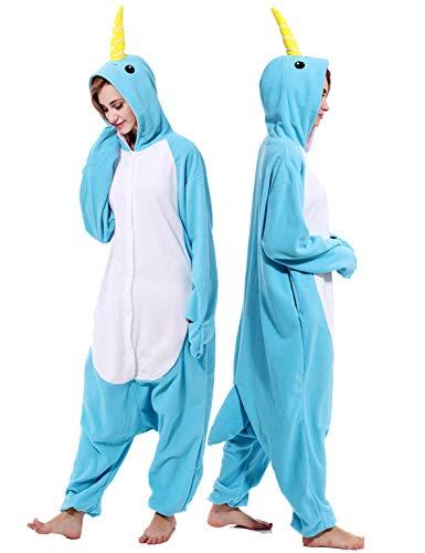 vavalad Damen narwhal Onesies Pyjamas Tier Halloween-kostüm Cosplay one Piece nachtwäsche S - Height 4'9''-5'3'' Narwhal Onesie