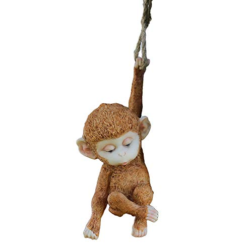 LBYLYH Home Garden Decor Ornament Gift Resin Creative Monkey Garden Statue Flower Stand Tree Pendant Outdoor Garden Decoration