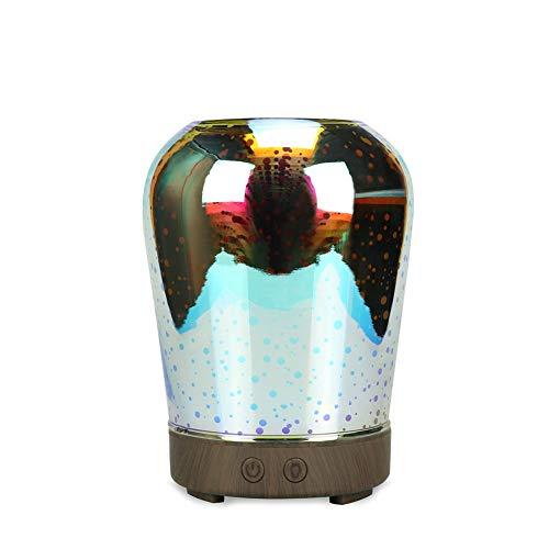 QCHNES Ätherisches Öl Diffusor 3D Feuerwerk Design Glas Marmor Muster Ultraschall Aroma Diffusor Wasserlos Auto-Off Cool Mist Luftbefeuchter