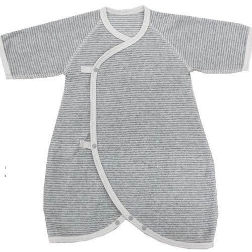 ◇日本製◇スナップ ボタン のやわらかパイル コンビ肌着 60〜70cm 綿100% (グレーボーダー, 60〜70cm)