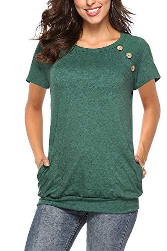 NICIAS Damen Sommer T-Shirt Kurzarm Oberteil Shirt Lässige Schaltflächen Hemd Bluse Tunika Top mit Taschen Grün Large