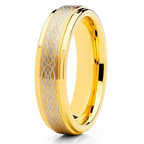 Silly Kings Jewelry Tungsten Wedding Band Yellow Gold Tungsten Ring 6mm Celtic Design Tungsten Carbide Men & Women Comfort Fit (7)