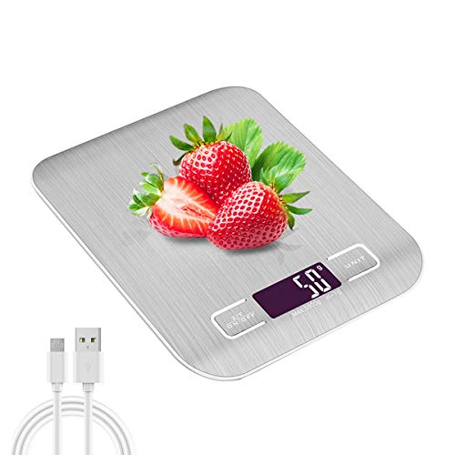 Báscula de Cocina Peso Cocina Digital - Raniaco 2 en 1 - USB o Carga de Batería Balanza Cocina, Peso Cocina Digital con Pantalla LCD de Hasta 5 kg, Bascula Digital de acero inoxidable, plateada