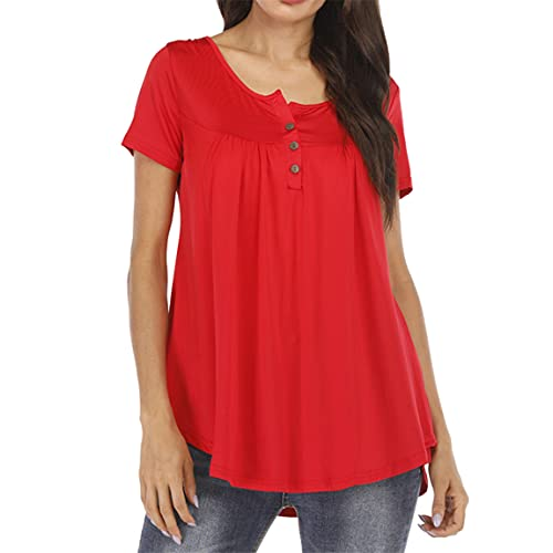 FUZHA Womens Casual Long/Short Sleeve Tops Loose Pleated Tunic Shirts Loose Blouse Short Sleeve V Neck Button Up Casual Tops Tshirts Casual V Neck Pleated Tunic Tops Shirts Blouse