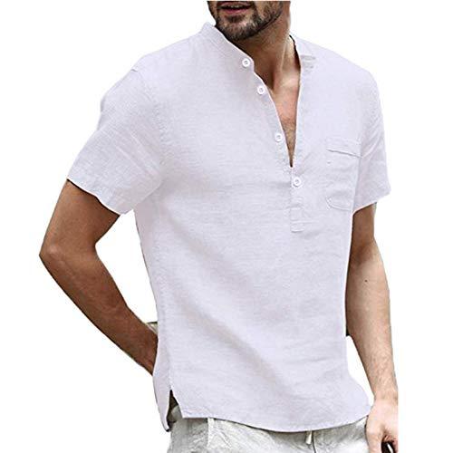 SSBZYES Camiseta para Hombre Camiseta De Manga Corta para Hombre Camiseta De Lino De Algodón Camiseta De Lino Anti-algodón para Hombre Camisa De Lino Informal De Color Sólido
