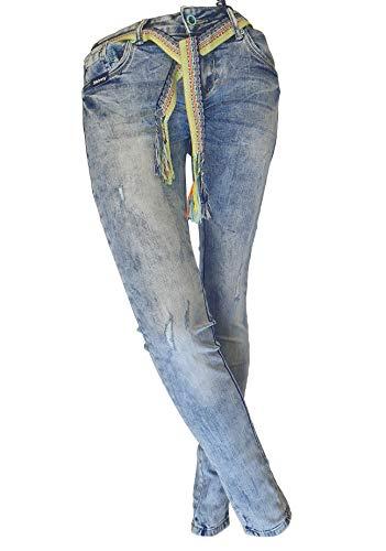 Blue Monkey Damen Jeans Cherry, Skinny fit, original, Stiching Details (W28/L32)