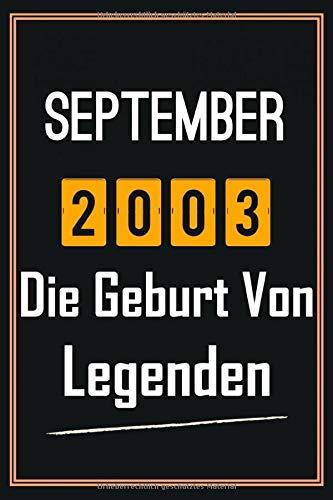 September 2003 Die Geburt von Legenden: 17. geburtstag geschenk jungs mädchen, geschenkideen für 17 jährige Bruder Schwester Freund - Notizbuch a5 liniert
