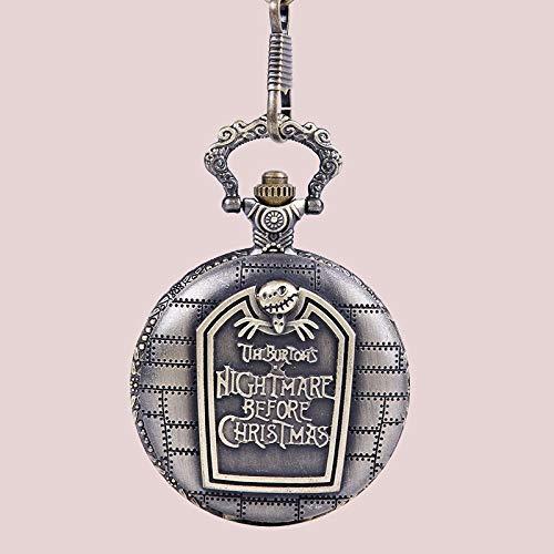 FEELHH Reloj De Bolsillo De Cadena Vintage,Cráneo De Cuarzo Serrada Socorro Bronce Diseño Tabla con Acero Inoxidable