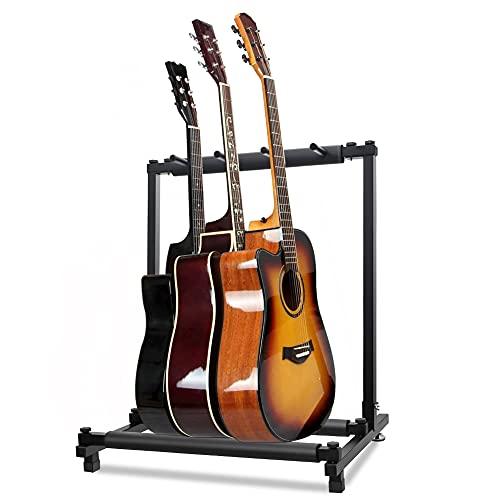 最新型 ギタースタンド(3本収納) 折りたたみ ユニバーサル 転倒防止用ゴム付属 楽器本体に傷が付くのを防ぎます 安定耐久 収納しやすい ブラケット (アコギ/ウクレレ/クラシック/エレキ/ベース/管楽器 対応スタンド)