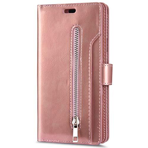 JAWSEU Compatibel met iPhone XR Case Flip Case Magnetische beschermhoes roze goud
