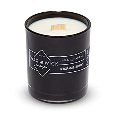 Scented Soy Candle: 100% Pure Soy Wax with Wood Double Wick | Burns Cleanly up to 60 Hrs | 9.5 oz Black Jar by Wax and Wick