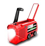 【5000mAh Newest】 Emergency Solar Powered Hand Crank Weather AM/FM/NOAA Radio, 3 Watt Flashlight, Reading Lamp, NOAA Alarm, USB Charger, SOS Siren, 3 Ways Powered(Red)