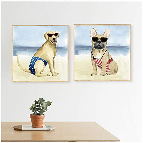 """NIESHUIJING druk op canvas leuke bikini hondenposter grappig dier muurschildering Sea Beach kinderkamer decoratie muurschildering voor woonkamer 15.7""""x15.7""""(40x40cm)x2 Geen lijst2"""