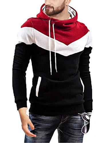 Leotude Cotton Maroon White Black Hoodie Jacket for Men (Black, Medium)