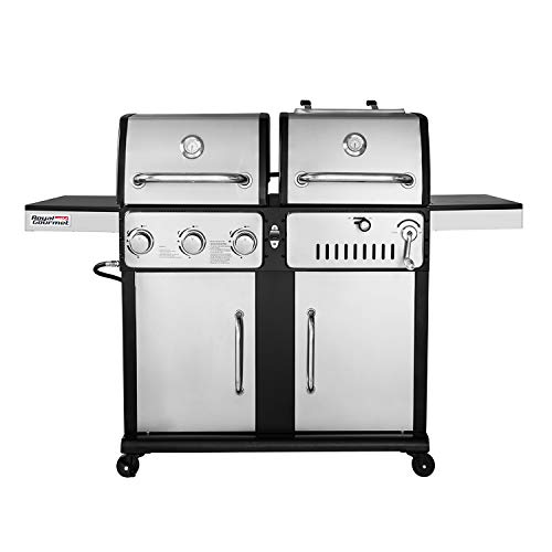 Royal Gourmet ZH3003S 3-Burner Gas and Charcoal Grill, Combo, 27000-BTU, Stainless Steel