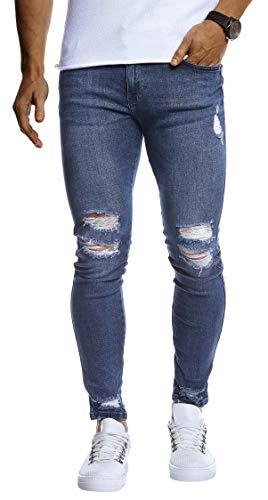 Leif Nelson Herren Hose Jeans Stretch Jeanshose Chino Cargo Hose Jogger Freizeithose Denim Slim Fit LN9145BL; W32L30, Blau