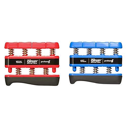 ProHands Fingertrainer Gripmaster medium, Red & Hands Fingertrainer Gripmaster Light, Blue, 230x140