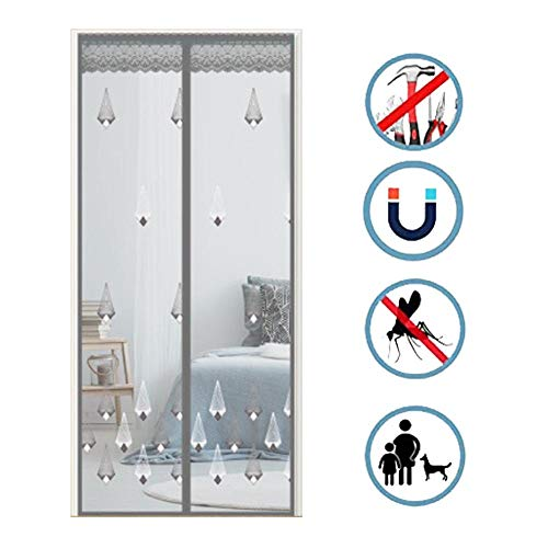 Magnetic Fly Screen Door, Anti-mosquito Curtain, Super Quiet Stripes Encryption, Keep Bug Out Let Fresh Air In for Balcony Sliding Living Room Children's Room/Grey / 100 * 240CM