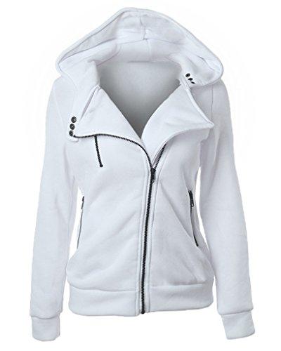 Minetom Damen Herbst Frühling Winter Kapuzenmantel Seite Reißverschluss Hoodies Beiläufige Langarm Pullover Weiß DE 38