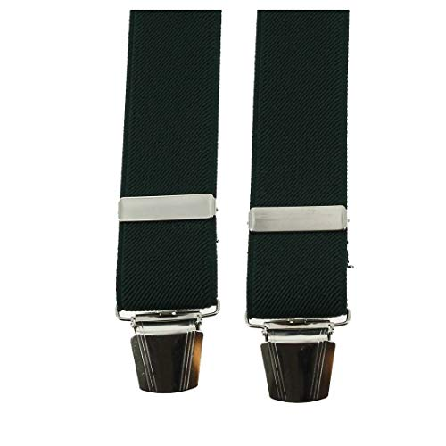 Tony & Paul. Bretelle. 4 clips, Viscose. Vert, Uni. Fabriqué en Italie.