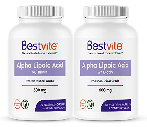 Alpha Lipoic Acid 600mg (per Capsule) with Biotin to Enhance Absorption (240 Vegetarian Capsules) (2 x 120) No Fillers - No Stearates - No Flow Agents