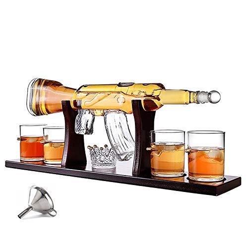 HOUSHIYU-521 Whiskey Karaffe Einstellen, 800ML Elegantes Gewehr Whiskey Karaffe Mit 4 Patronengläsern Und Pine Base, Bleifreies Hohes Weißes Glas, Für Alle Spirituosen Schnaps