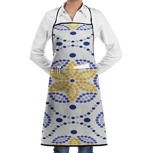Delantal con dobladillo impermeable con bolsillo 52 cm 72 cm, delantal unisex Azulejos tradicionales portugueses inspirados en la pared y el suelo Cerámica para el hogar con puntos azul amarillo naran