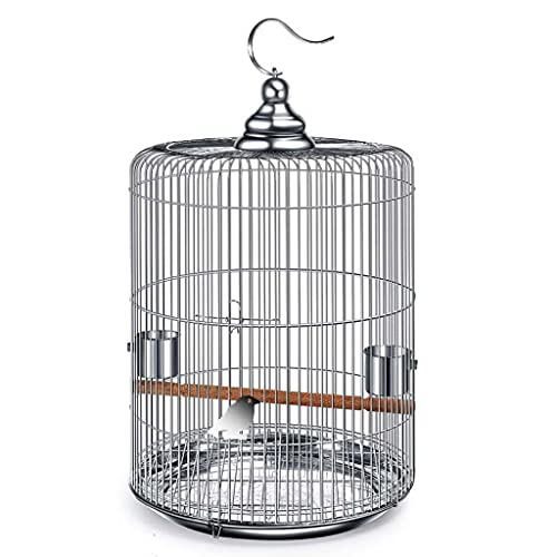 Birdhouses Bird Cage Stainless Steel Round Bird Cage Starling/thrush/parrot Bird Cage Household Pet Bird Cage Easy To Carry When Going Out (Color : Black, Size : 33x33x57cm)
