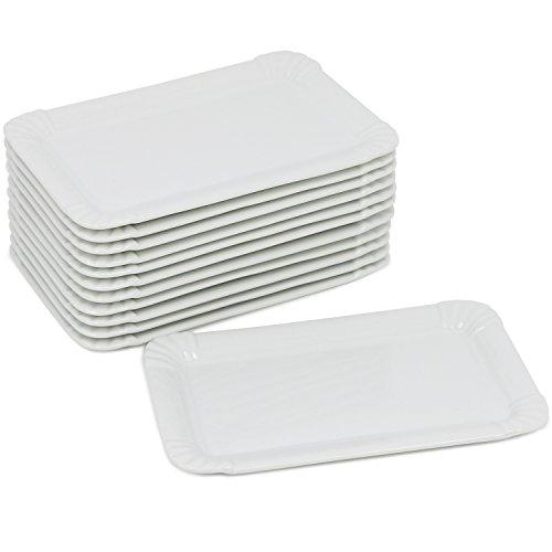 com-four® 12x Edle Porzellan-Teller - Dessert-Teller in weiß - Servierteller im Pommesschalen-Design - 20,5 x 13,5 cm (12 Stück - flach)