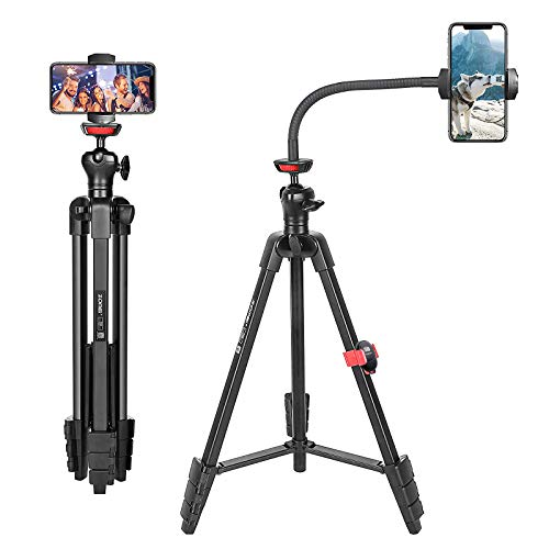 Tripod for iPhone and Android Cellphone,54-inch Premium Flexible Phone Tripod with 14-inch Adjustable Gooseneck,Wireless Remote, Cellphone Phone Tablet Stand Holder,Upgrade Ball Head and Carrying Bag