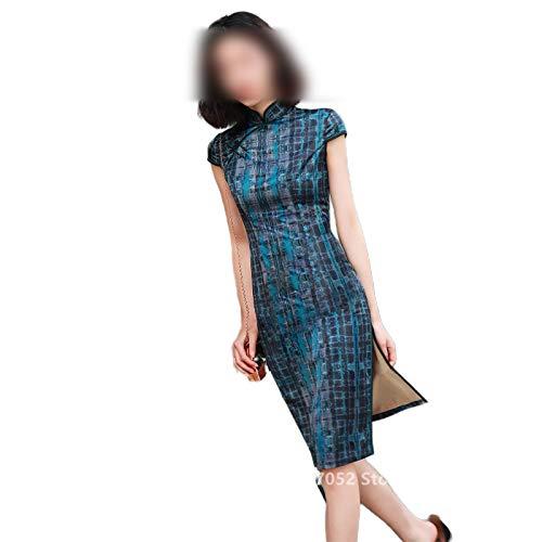 Qipao Chino Tradicional Vestido De 2020 Retro Cheongsam Dragón De Las Mujeres De Satén De Impresión Floral De Verano Vintage Corto Vestidos De Fiesta De La Bod