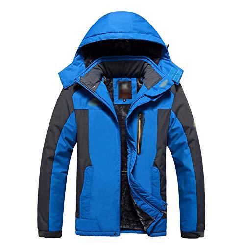 KINDOYO Herren Outdoorjacke - Atmungsaktiv Ultra Wasserdicht Funktions Verdickt Winterjacke Warm Winddicht Softshelljacke,Blau,EU 7XL=Tag 8XL