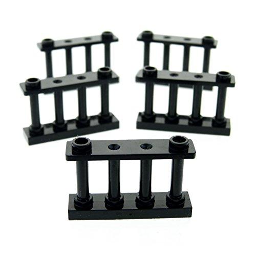 5 x Lego System Zaun schwarz 1 x 4 x 2 Gatter Spindel Zäune Absperrung Fence 30055