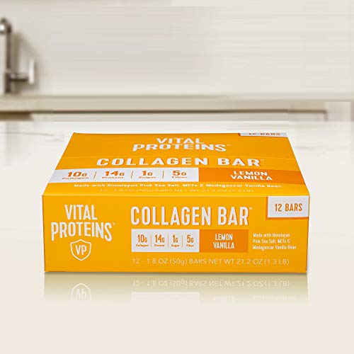 Collagen Protein Bars with MCTs - Vital Proteins Collagen Bars - 16-17g of Protein, 6-8g of Fiber, 4g of Sugar or Less Per Bar (Lemon Vanilla)