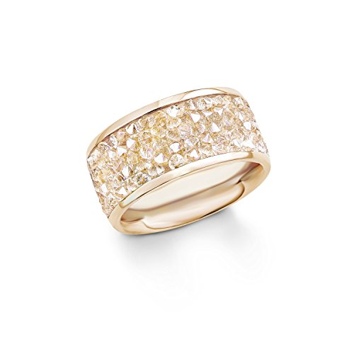 s. Oliver Damen-Ring Swarovski Elements Edelstahl teilvergoldet Kristall weiß Rundschliff Gr. 56 (17.8) - 540315