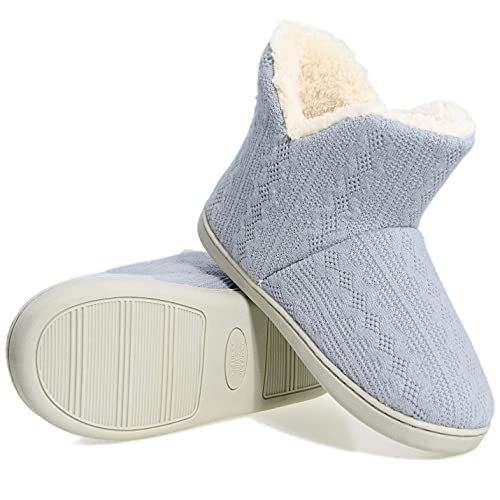 PiDaGlobal Mujer Zapatillas de casa Cálidode de Punto Interior y Exterior Lana al Forro de Felpa Suela Antideslizante Zapatos Invierno Pantuflas Botines 38/39EU Azul Claro