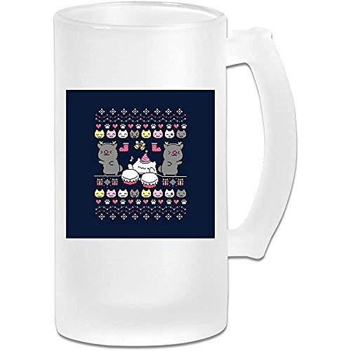 Taza de jarra de cerveza de vidrio esmerilado de 16 onzas impresa - Christmas Bongo Nights Bongo Cat - Taza gráfica