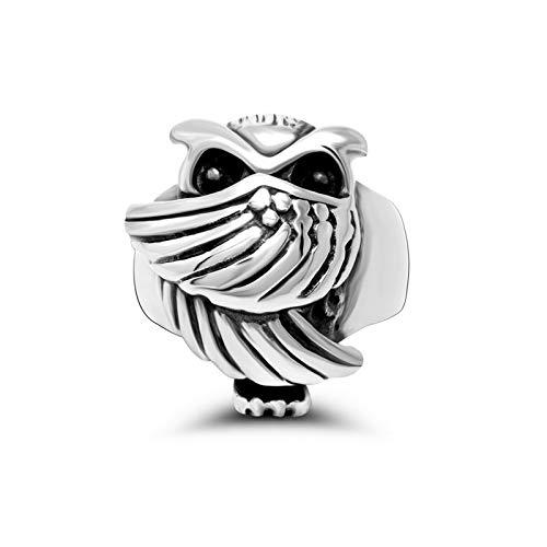 3°Amy Anillo Búho Anillos De Acero Inoxidable para Hombres Mujeres Fina Regalo Anillo De Dedo Hembra Hembra (Color : Silver, Ring Size : 7)